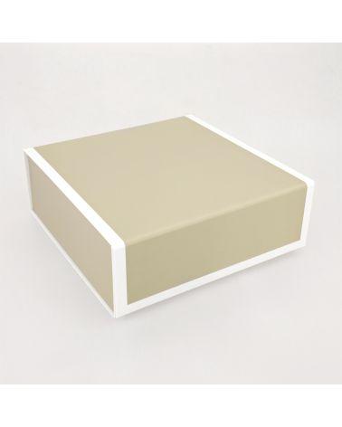 Boîte cadeau - beige foncé et blanc